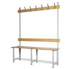 Banco de madera para vestuario con perchero