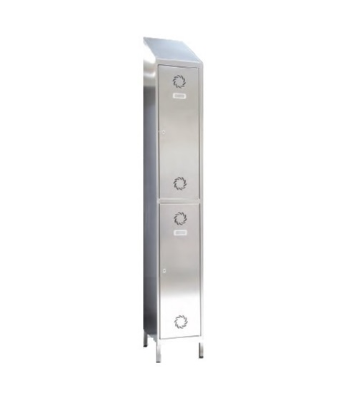 Taquilla de acero inoxidable 2 puertas 1 columna