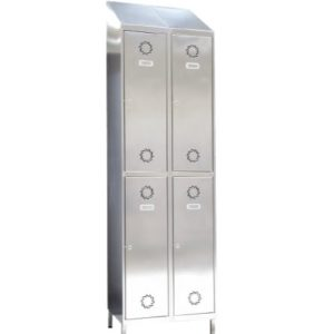 Taquillas de acero inoxidable 4 puertas 2 columnas