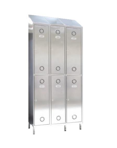Taquillas de acero inoxidable 6 puertas 3 columnas